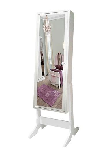First Mobilya First Mobilya - Trendy - Ayaklı - Demonte - Aynalı - Takı Dolabı  Beyaz